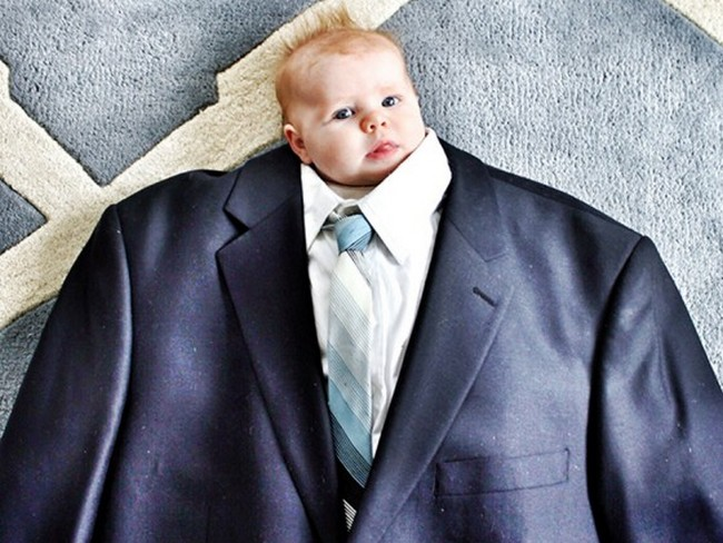 Baby suiting has become the latest internet craze, where parents are dressing up their babies in adult size clothes.