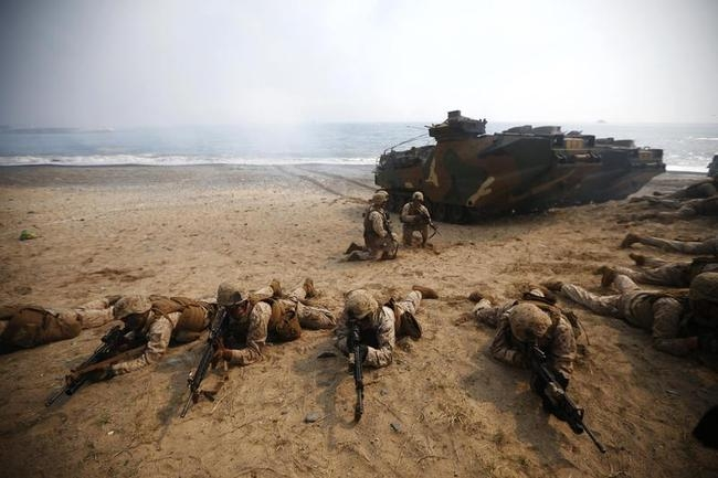 U.S. marines participate in a U.S.-South Korea joint landing operation drill in Pohang