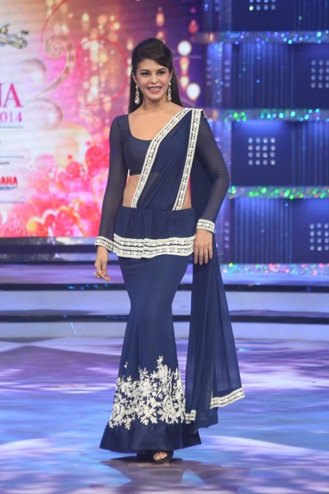 Judge Jacqueline Fernandez on stage at fbb Femina Miss India 2014.