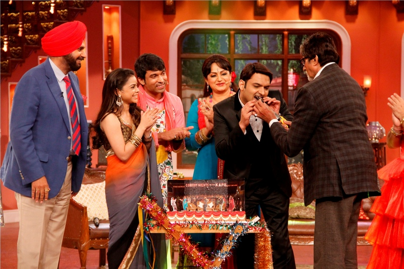 Amitabh then fed Kapil some cake