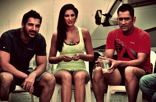 Nargis Fakhri, MS Dhoni and John Abraham