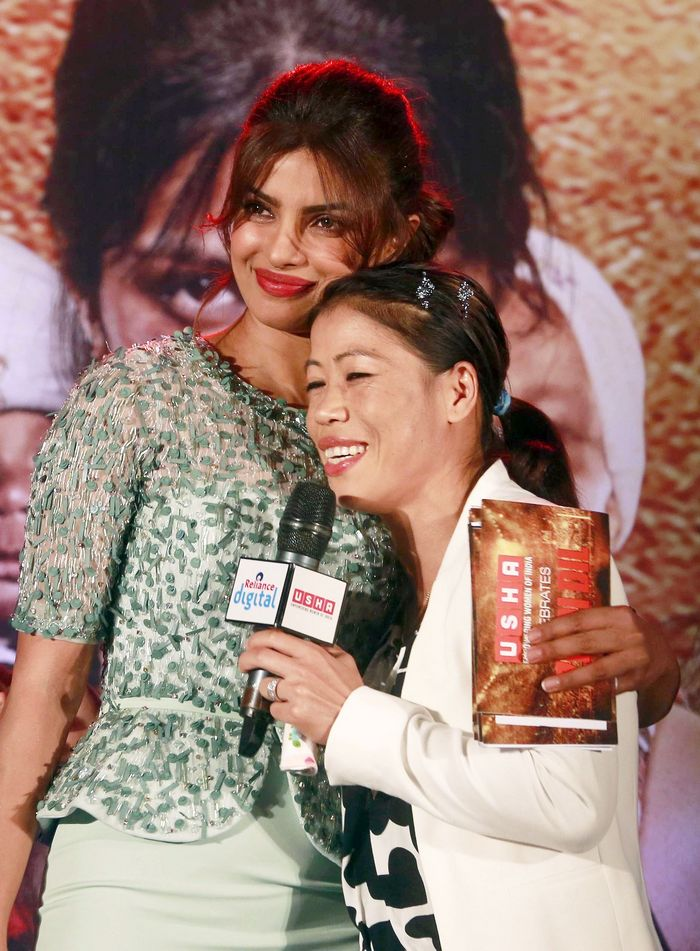 Mary Kom and Priyanka Chopra (who plays the boxer in the upcoming biopic) came together to promote the film. Photo: AP