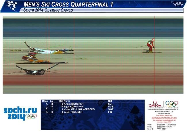 Photo Finish: Slovenia's Flisar, Switzerland's Niederer, Norway's Lie and Russia's Korotkov compete during the men's freestyle skiing skicross small final round at the 2014 Sochi Winter Olympic Games in Rosa Khutor