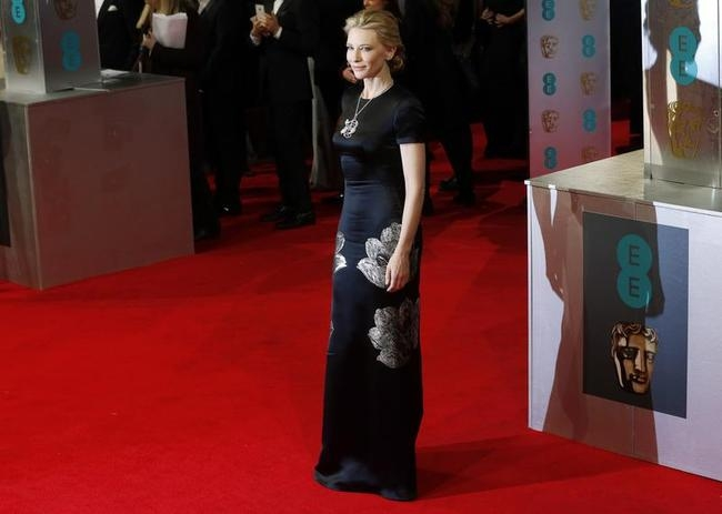 Cate Blanchett arrives at the BAFTA awards ceremony in London