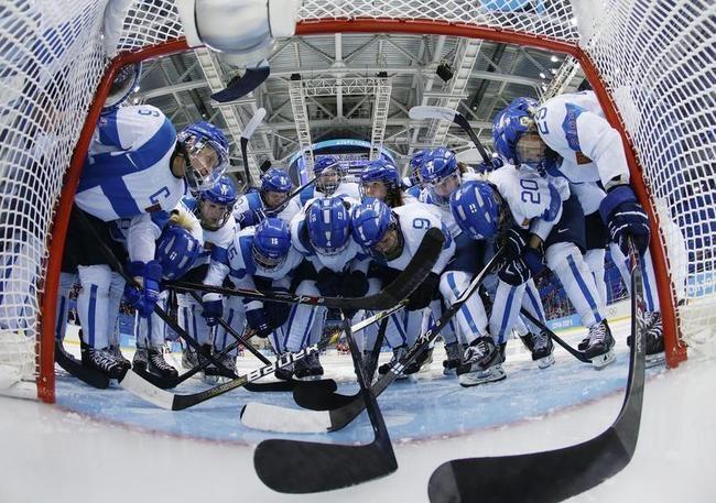 Team Finland huddles before their women