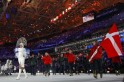 Denmark's flag-bearer Nielsen leads her country's delegation during the opening ceremony of the 2014 Sochi Winter Olympic Games at Fisht stadium
