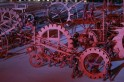 Performers roll props shaped like gears and wheels during the opening ceremony of the 2014 Sochi Winter Olympic Games