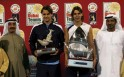 Rafael Nadal of Spain (2nd R), winner of ATP Dubai Open, and Roger Federer of Switzerland, in second place