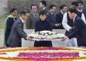 South Korean President Park places a wreath at the Mahatma Gandhi memorial at Rajghat in New Delhi