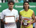 Spain's Rafael Nadal (R) and Switzerland's Federer