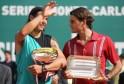 Spanish Rafael Nadal (L) poses next to Federer