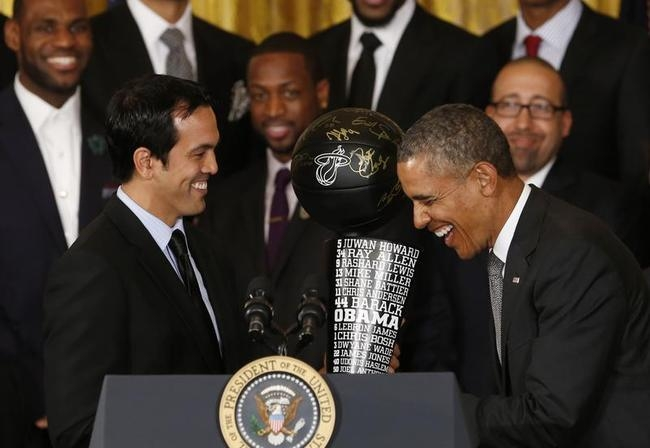 Obama honors the Miami Heat NBA basketball champs the White House in Washington