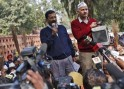 Delhi's Chief Minister Kejriwal, leader of Aam Aadmi (Common Man) Party, addresses his supporters during a protest in New Delhi