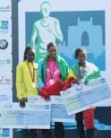 Women Dinknesh Mekash (centre) of Ethiopia won the Women