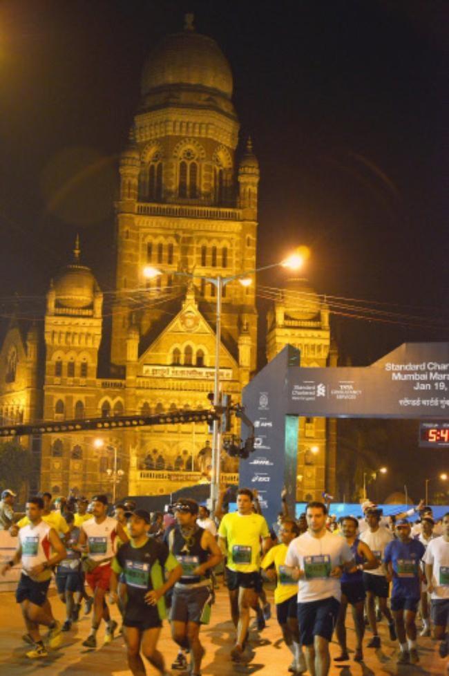 The start of Mumbai Marathon