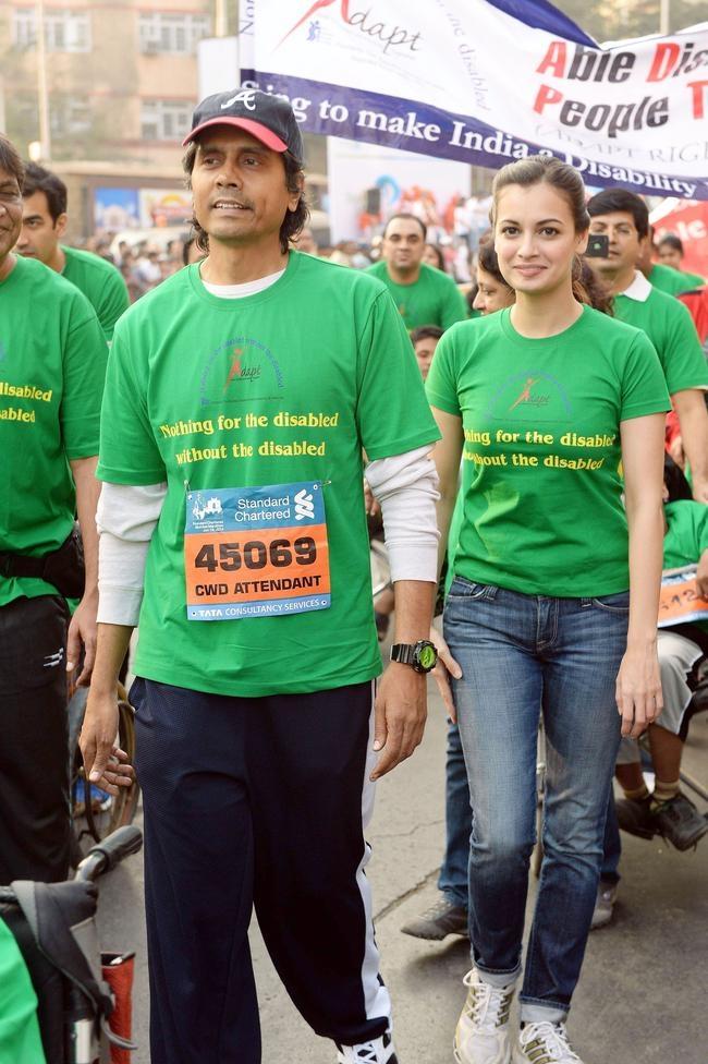 Dia Mirza, Nagesh Kukunoor at Mumbai Marathon 2014