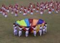 School girls perform dance during inauguration of National School Football U-17 Boys Championship in Agartala