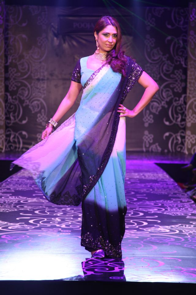 Model/VJ/Actress Pooja Misrra showcases her latest line of sarees at India Lifestyle And Bridal Fashion Week