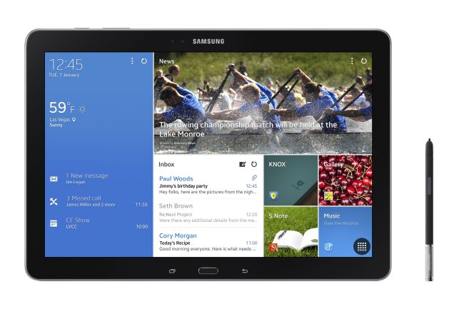 Samsung Galaxy Note Pro runs on the latest Android version 4.4, i.e., Android Kitkat.