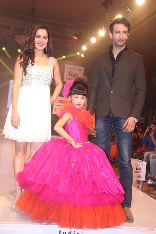 Shraddha Arya and Nandish Sandhu walking the ramp at Day 2 of India Kids Fashion Week