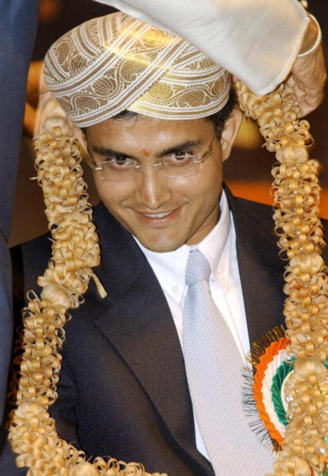 Indian cricketer Saurav Ganguly wearing