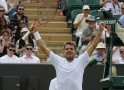 Stanislas Wawrinka of Switzerland reacts after defeating Feliciano Lopez of Spain in their men's singles tennis match at the Wimbledon Tennis Championships, in London