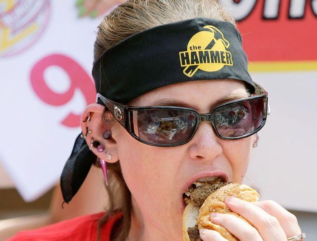 Winner Molly Schuyler participates in the sixth annual Independence Burger Eating Contest at Z-Burger in Washington