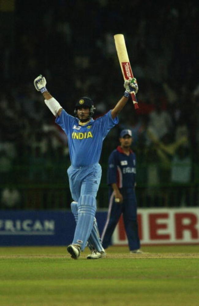 Sourav Ganguly of India celebrates