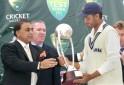 Indian captain Sourav Ganguly presented with the Gavaskar-Border Trophy by Sunil Gavaskar