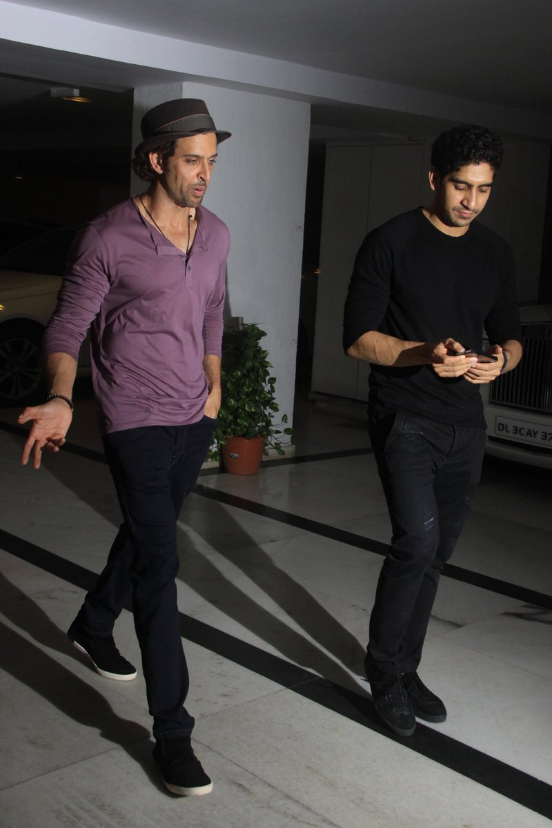 Karan Johar threw a party at his home that saw many Bollywood bigwigs in attendance. Hrithik Roshan (left) and Ayan Mukerji were snapped at KJo's home. Photo: Getty Images