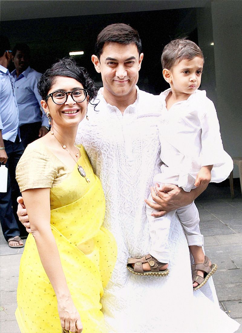 Aamir Khan, Kiran Rao and Azad stepped out on Eid to greet the actor's fans. Photo: PTI