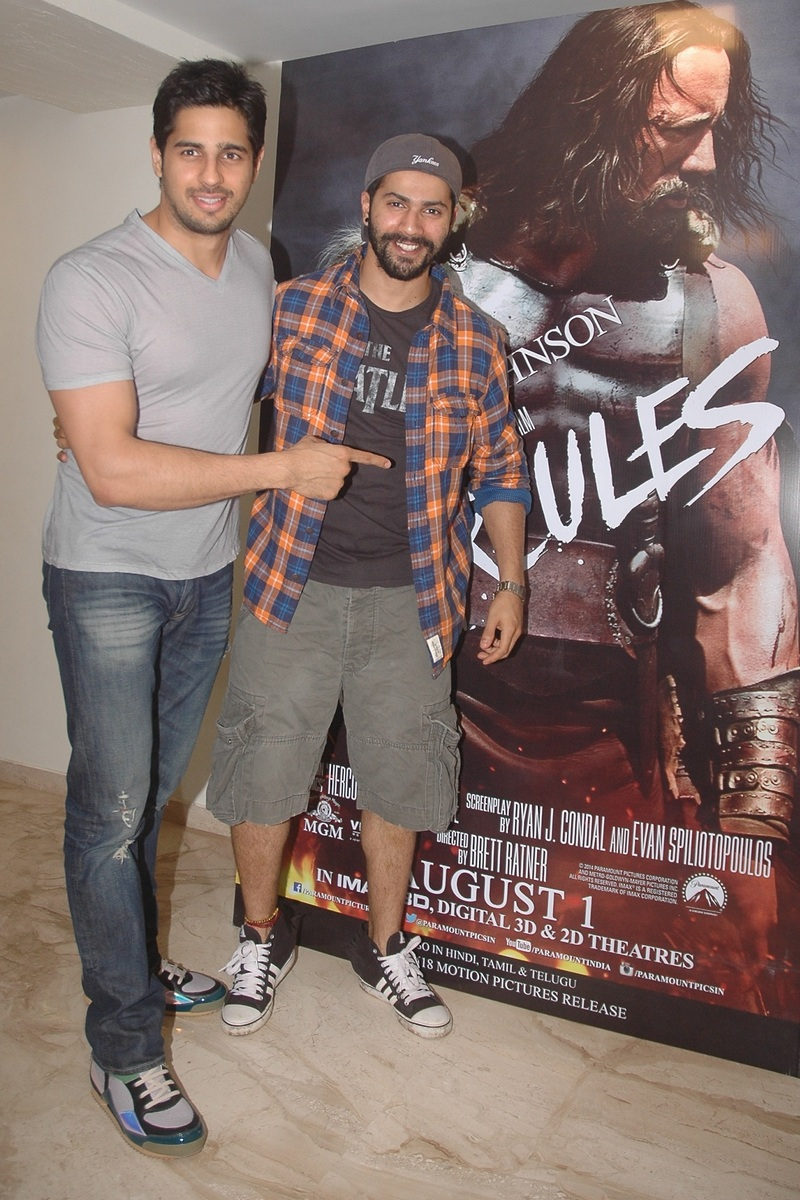 Student Of The Year stars Alia Bhatt, Sidharth Malhotra and Varun Dhawan were snapped at a screening of Hercules. Sid and Varun were seen goofing around at the show
