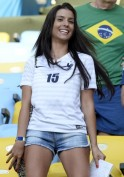 Ludivine Sagna, the wife of France's defender Bacary Sagna attends the Group E football match between Ecuador and France