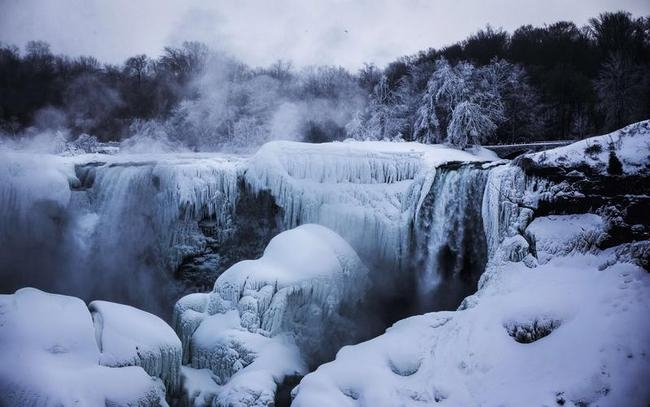 A partially frozen Niagara Falls is seen on American side during sub freezing temperatures