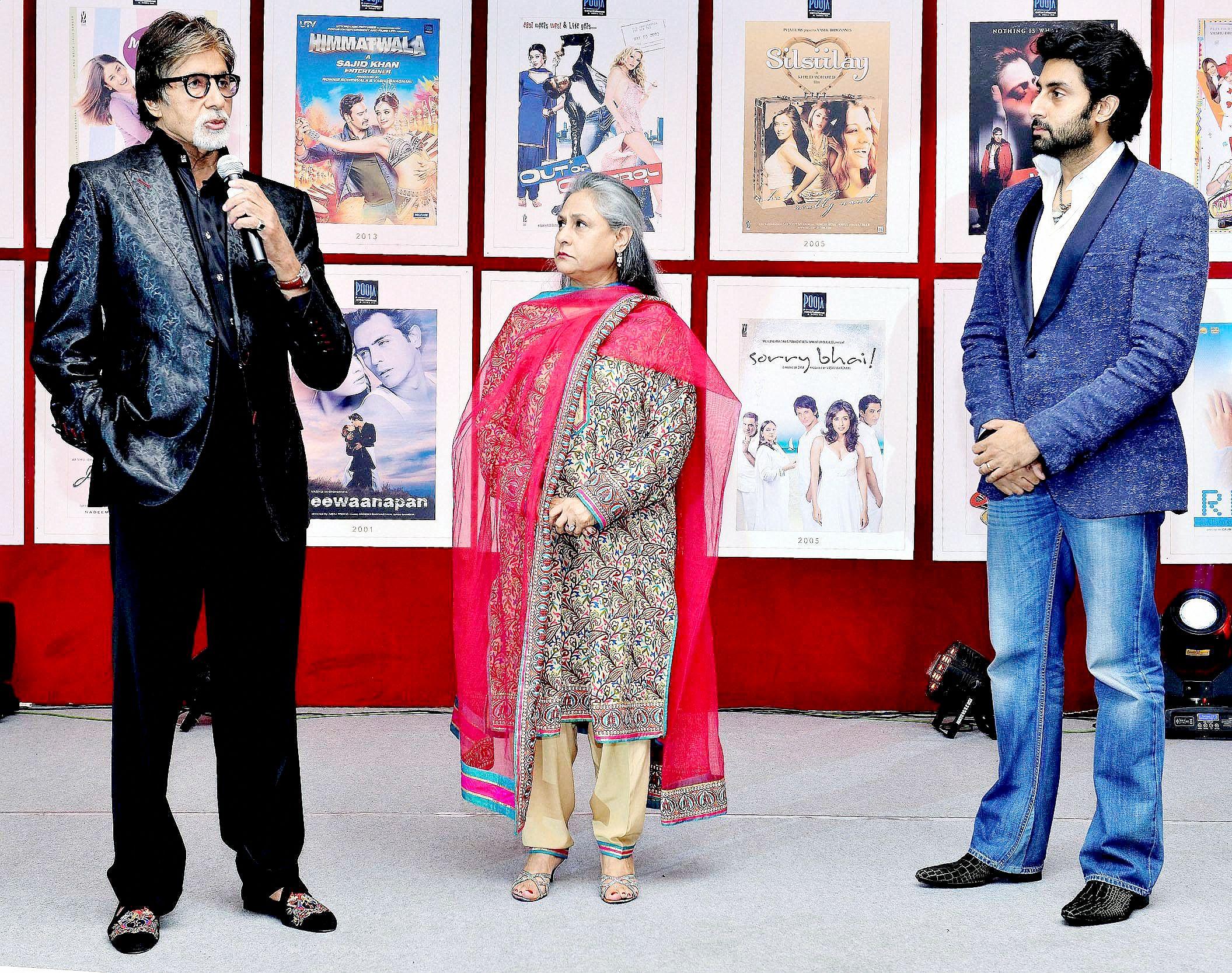 Amitabh Bachchan, Jaya Bachchan and Abhishek Bachchan