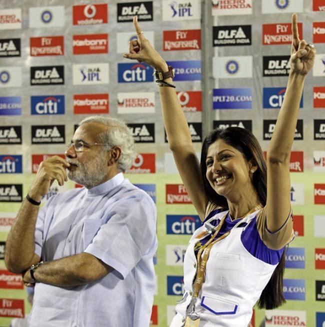 Narendra Modi with RR team owner Shilpa Shetty