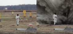 Russian Woman Soldier Walks Through Explosives To Test A Blast-Resistant Suit, Survives