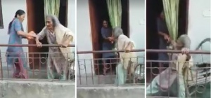 Neighbours Film A Delhi Woman Mercilessly Beating Her 85-Year-Old Mother!