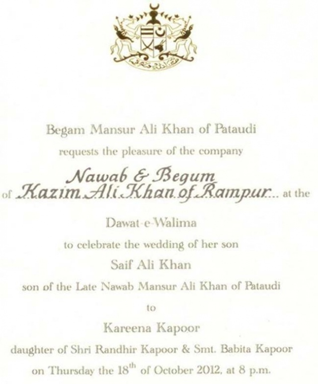 Saif-Kareena's reception card