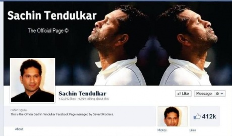 Sachin Tendulkar's Facebook Page