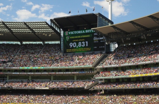 The giant screen proclaims a world record crowd on the first day of the fourth Ashes cricket Test between Australia and England played at the Melbourne Cricket Ground. (Getty Images)