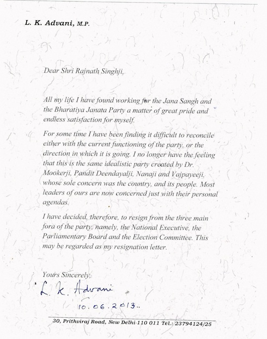 LK Advani Letter
