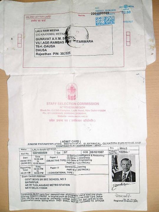 Strange SSC examination admission card