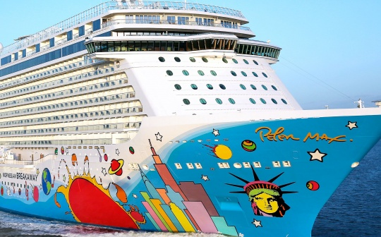 the Breakaway, a new ship from Norwegian Cruise Line, sports a colorful mural of the city New York City skyline by pop artist Peter Max