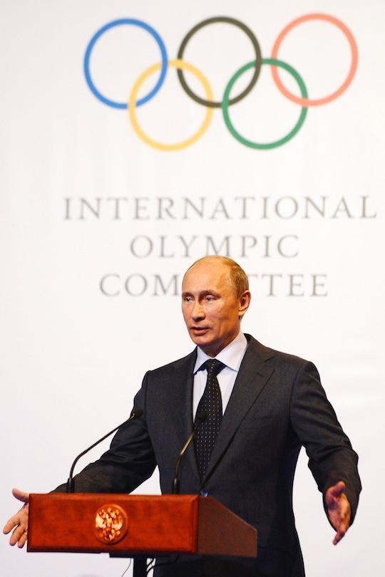 Russian President Vladimir Putin speaks at an International Olympic Commitee (IOC) executive board meeting