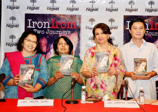 Actress Sharmila Tagore releases a book on Irom Sharmila at a function in New Delhi