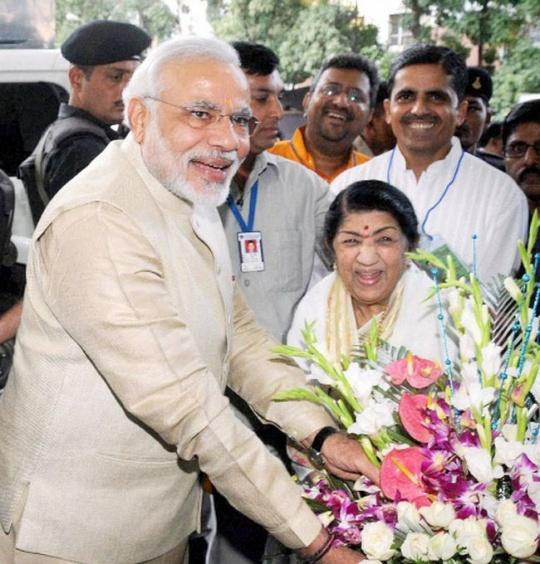 Narendra Modi and Lata Mangeshkar