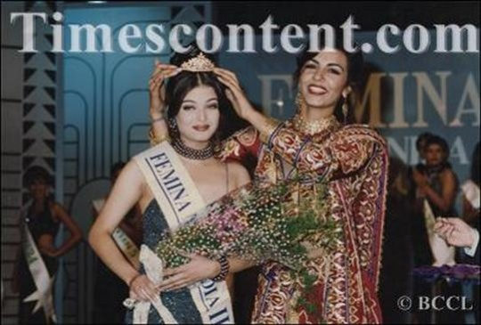 Aishwarya Rai places second in the Miss India contest