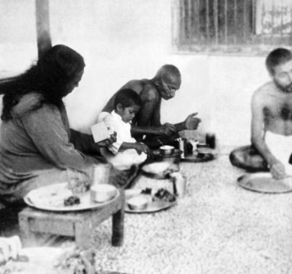 Gandhi eating