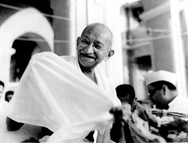 Gandhi laughing